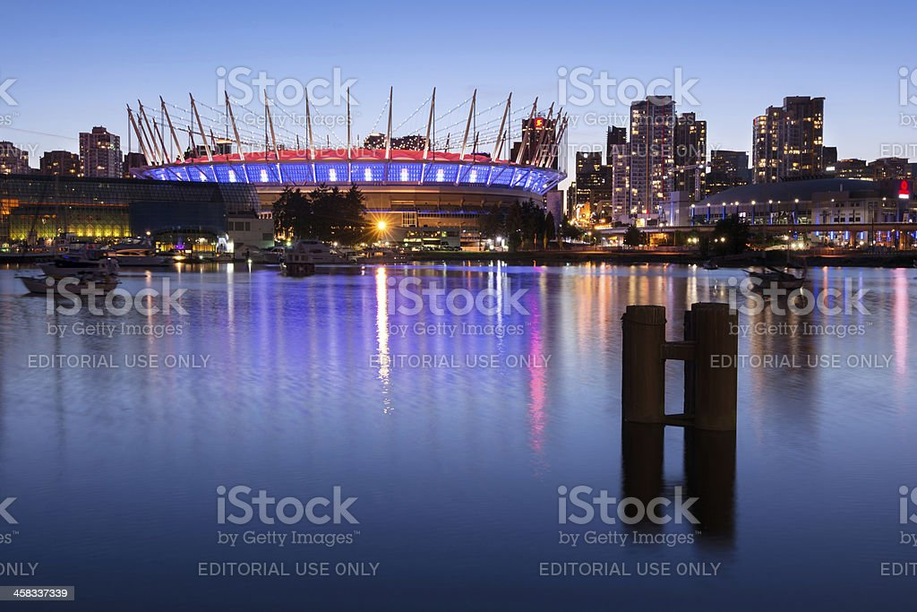 False Creek and BC Place in Vancouver, British Columbia royalty-free stock photo