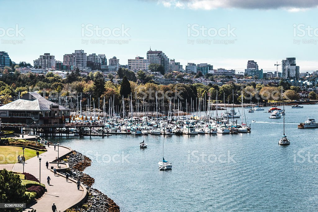 False Creek and Downtown Vancouver in Vancouver, Canada stock photo