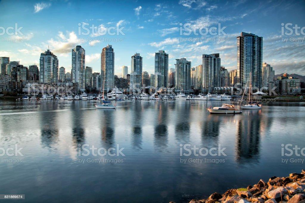 False Creek at sunset, Vancouver, Canada stock photo