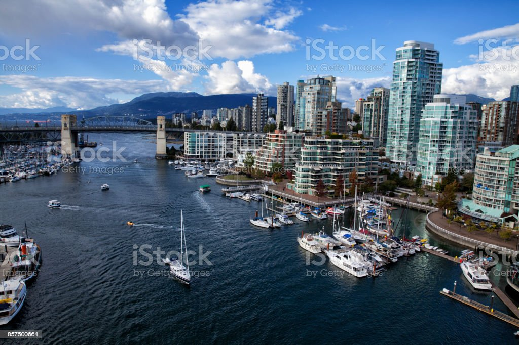 False creek in autumn, Vancouver, Canada stock photo