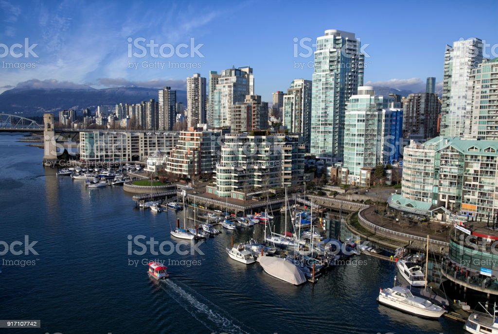 False Creek in winter, Vancouver, Canada stock photo