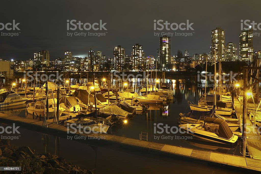 False Creek Marina Night, Vancouver royalty-free stock photo