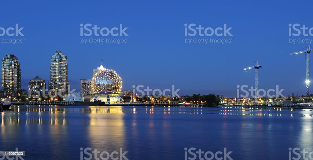 False creek night scene with science world globe, vancouver stock photo