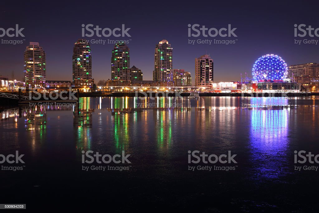 False Creek Twilight, Vancouver stock photo
