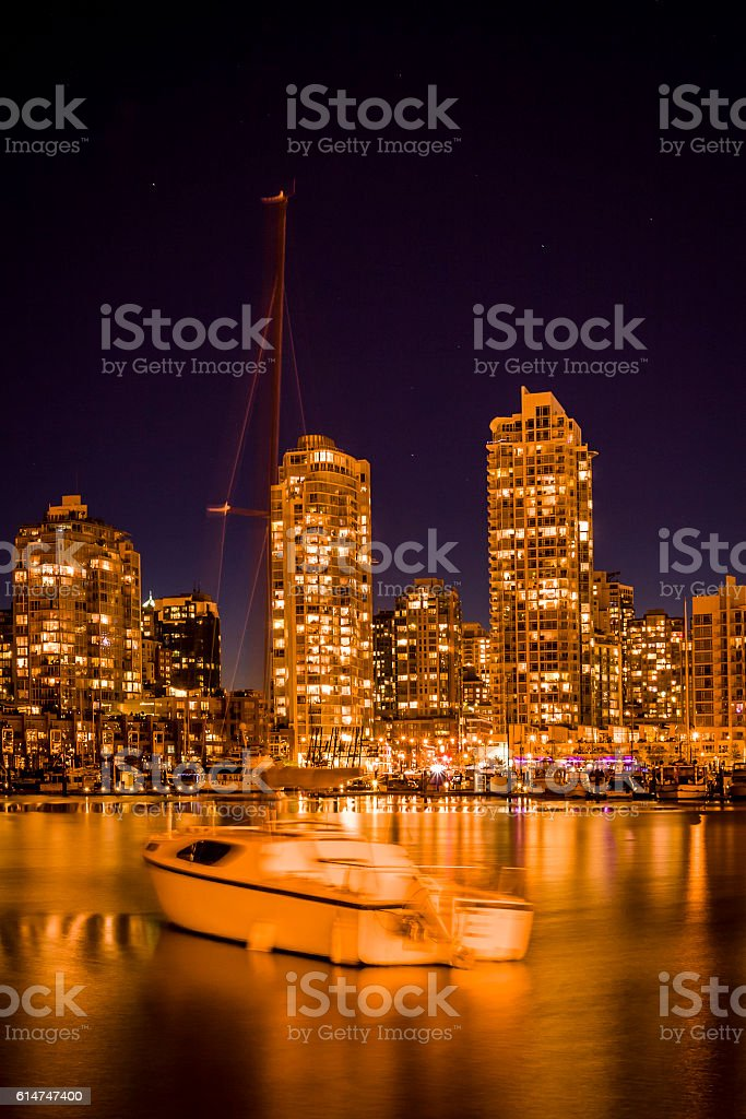 False Creek, Vancouver at dusk. stock photo