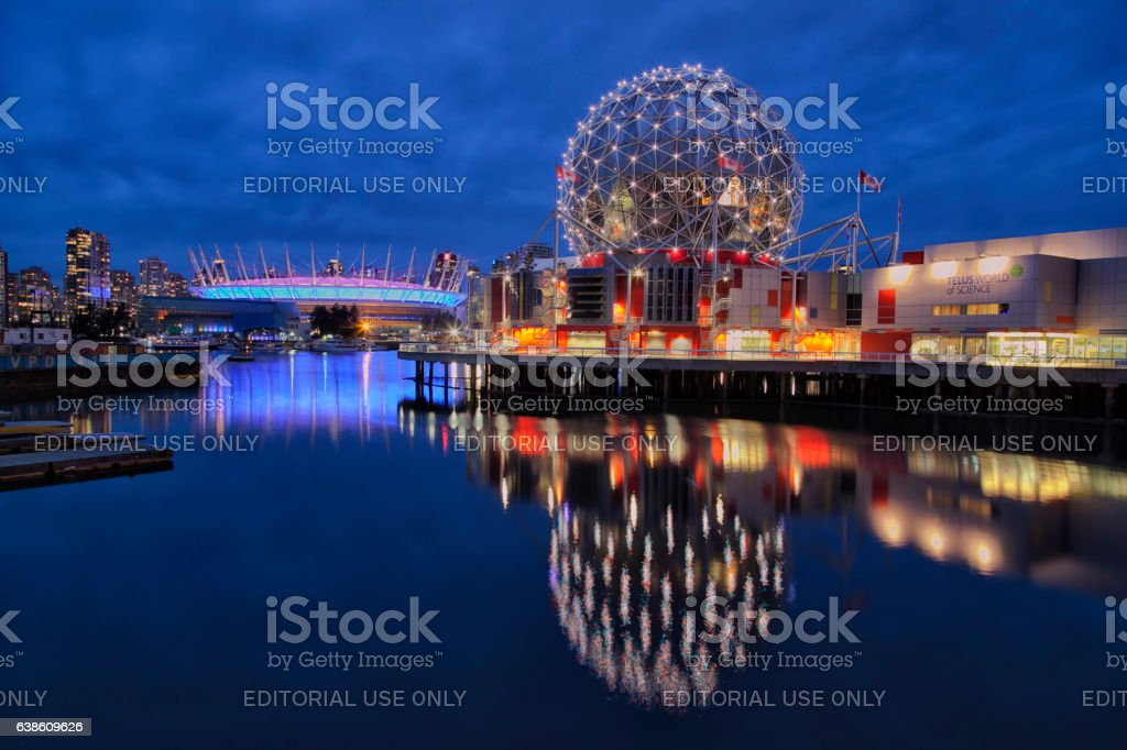 False creek,Vancouver at night stock photo