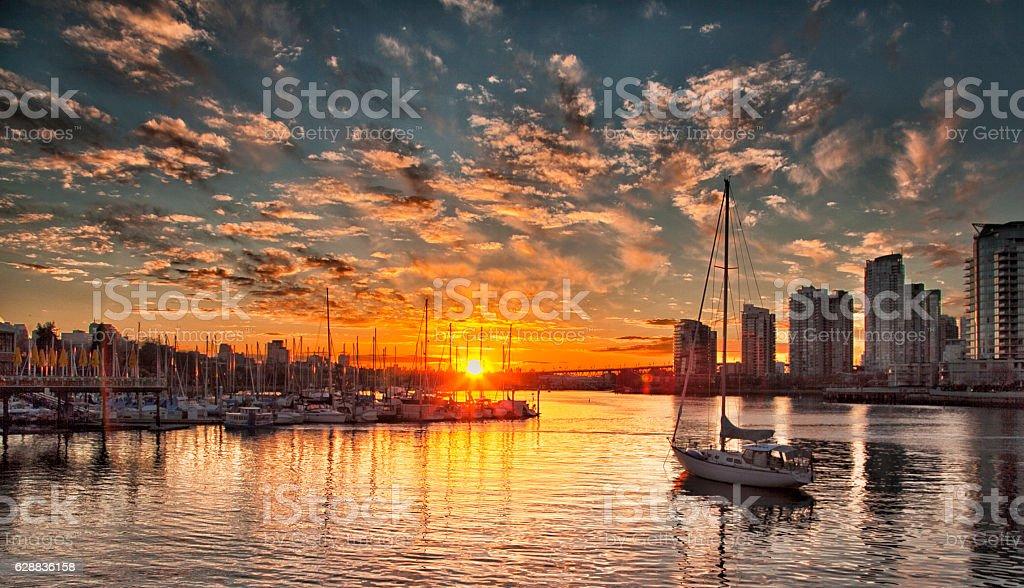 False creek,Vancouver at sunset stock photo
