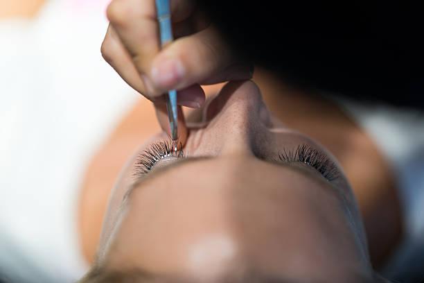 False eyelash and application stock photo