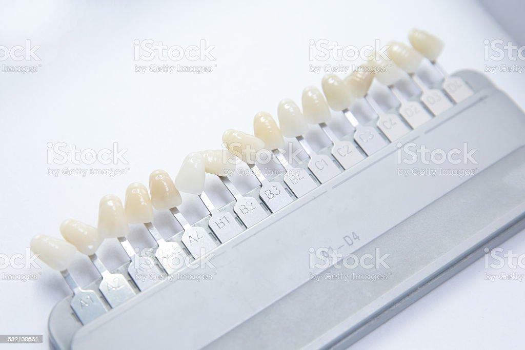 False teeth color samples stock photo