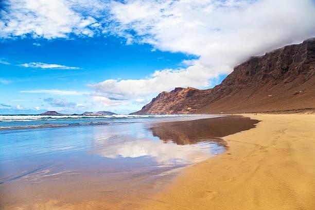 Famara Beach in Lanzarote. Canary Islands. Spain. - foto de stock