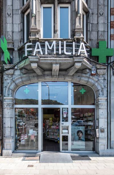 Familia Pharmacy on Place Reine Astrid in Dinant, Belgium. stock photo