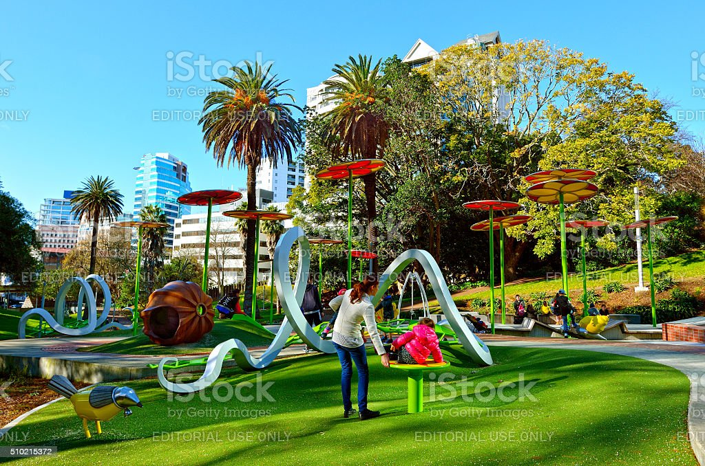 Families enjoy Myers Park Playground in Auckland New Zealand stock photo