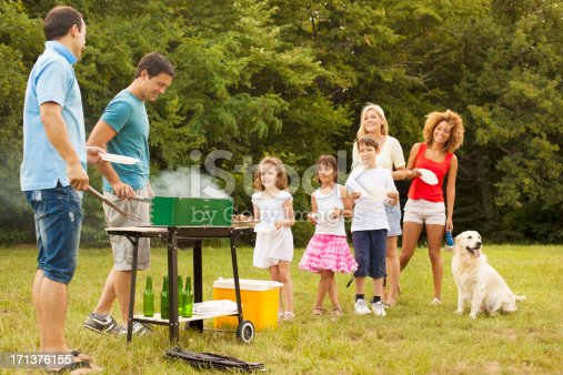 istock Families enjoying a barbecue. 171376155