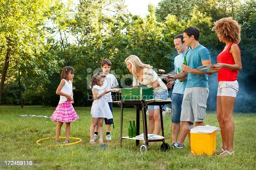 istock Families enjoying a barbecue. 172459116
