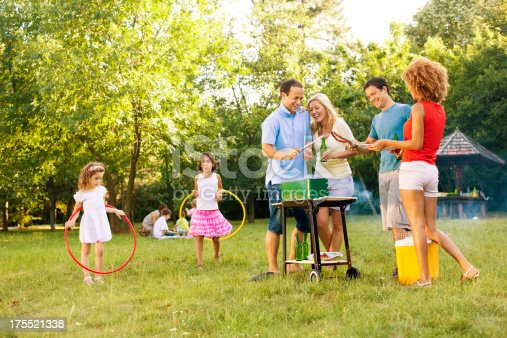 istock Families enjoying a barbecue. 175521338