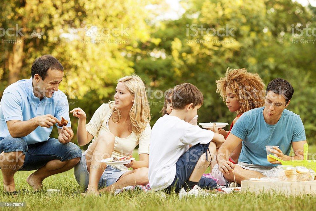 Families enjoying eating at picnic. stock photo