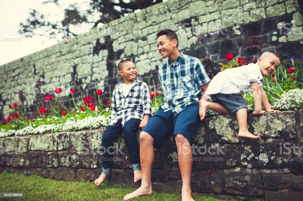Families From New Zealand. stock photo