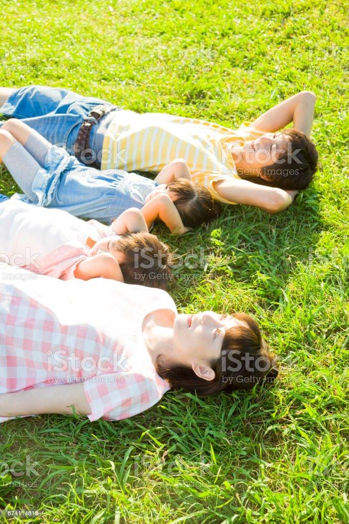 家庭在公園的草地上睡著了 免版稅 stock photo