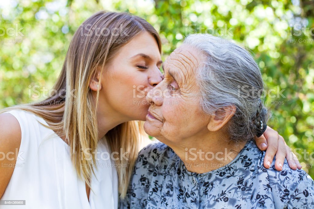 Familiy time - kiss stock photo