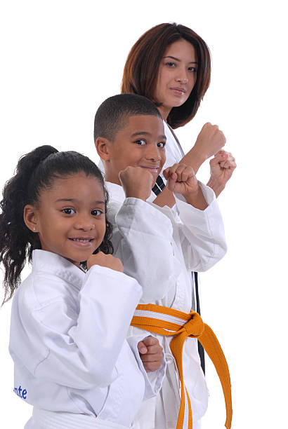 family activity - martial arts gerville stock photos and pictures