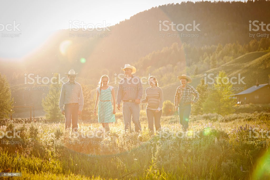 Family afternoon walk stock photo