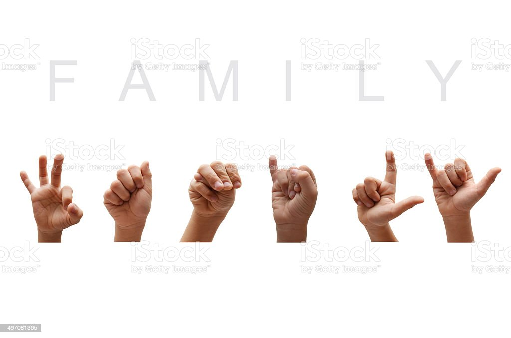 Family american sign language stock photo