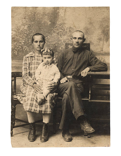 Family. An ancient photo of 1924. Family. An ancient photo of 1924. Old Russia 19th century stock pictures, royalty-free photos & images