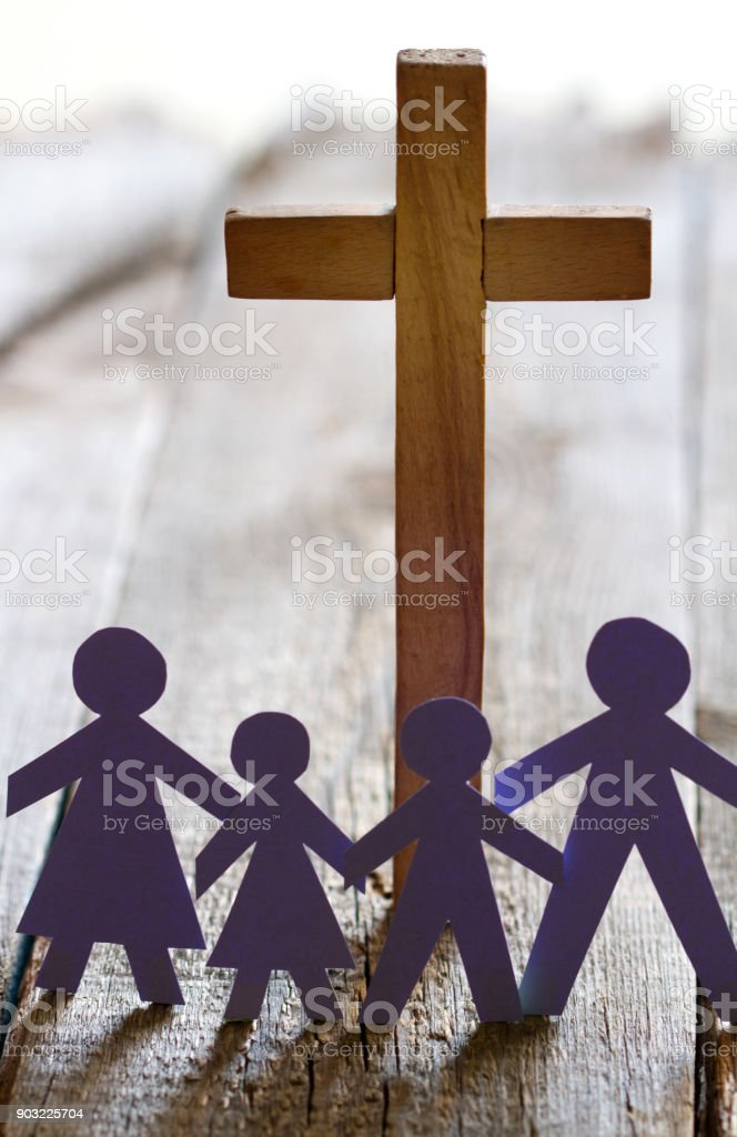 Family and easter cross catholic lifestyle concept stock photo