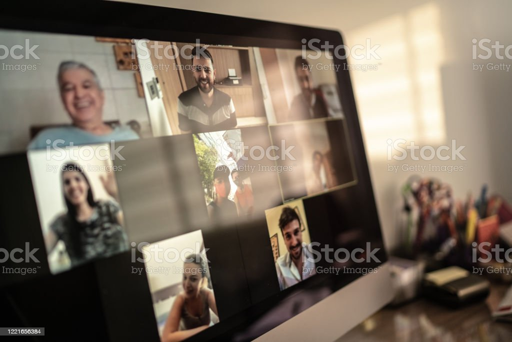 Family and friends happy moments in video conference at home Family and friends happy moments in video conference at home Brazil Stock Photo