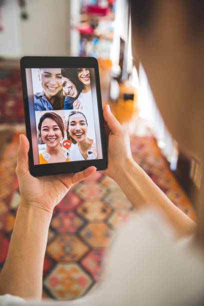 Family and friends happy moments in video conference stock photo