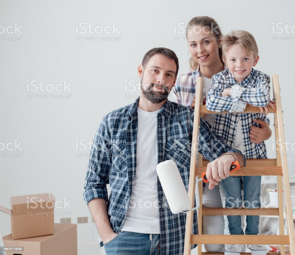 Family and home renovation Lizenzfreies stock-foto