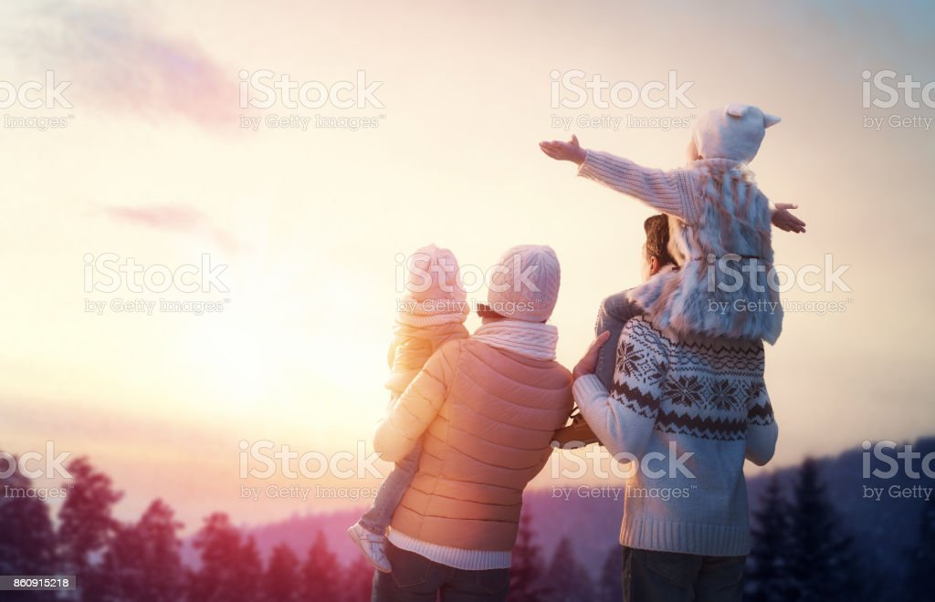 family and winter season stock photo