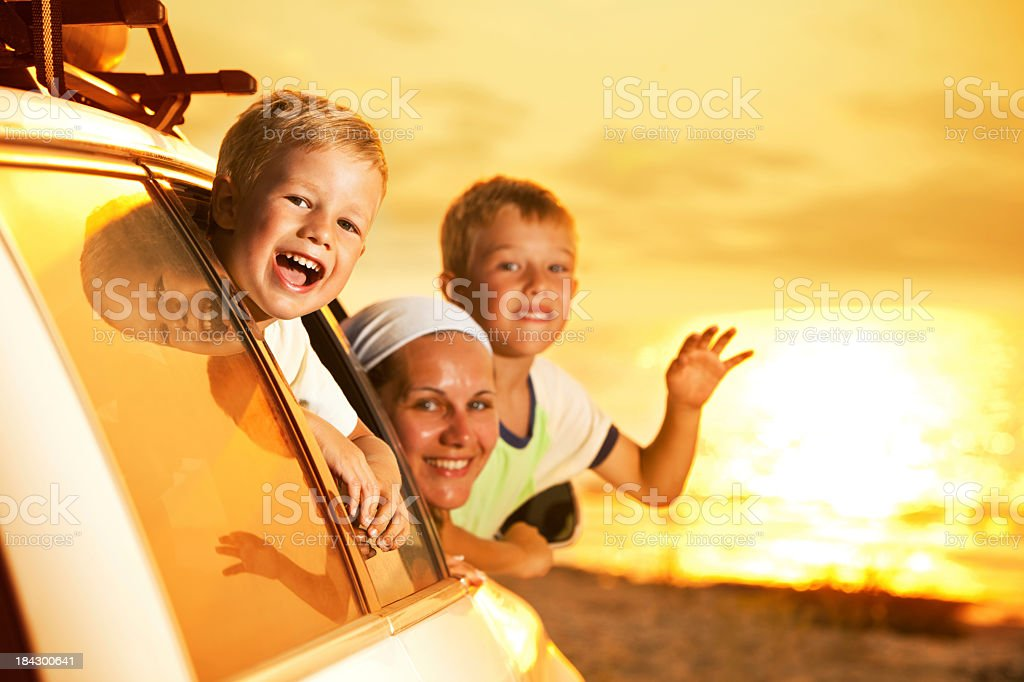 Family Arriving At The Beach royalty-free stock photo