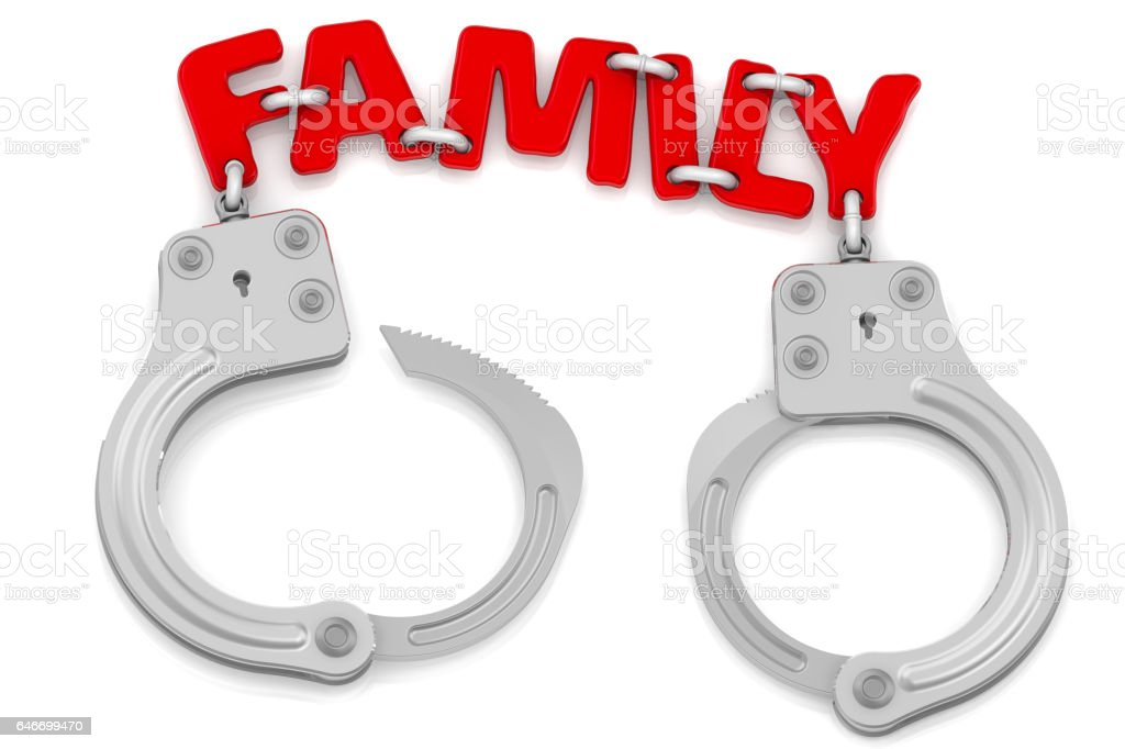 Family as limiter of freedom stock photo