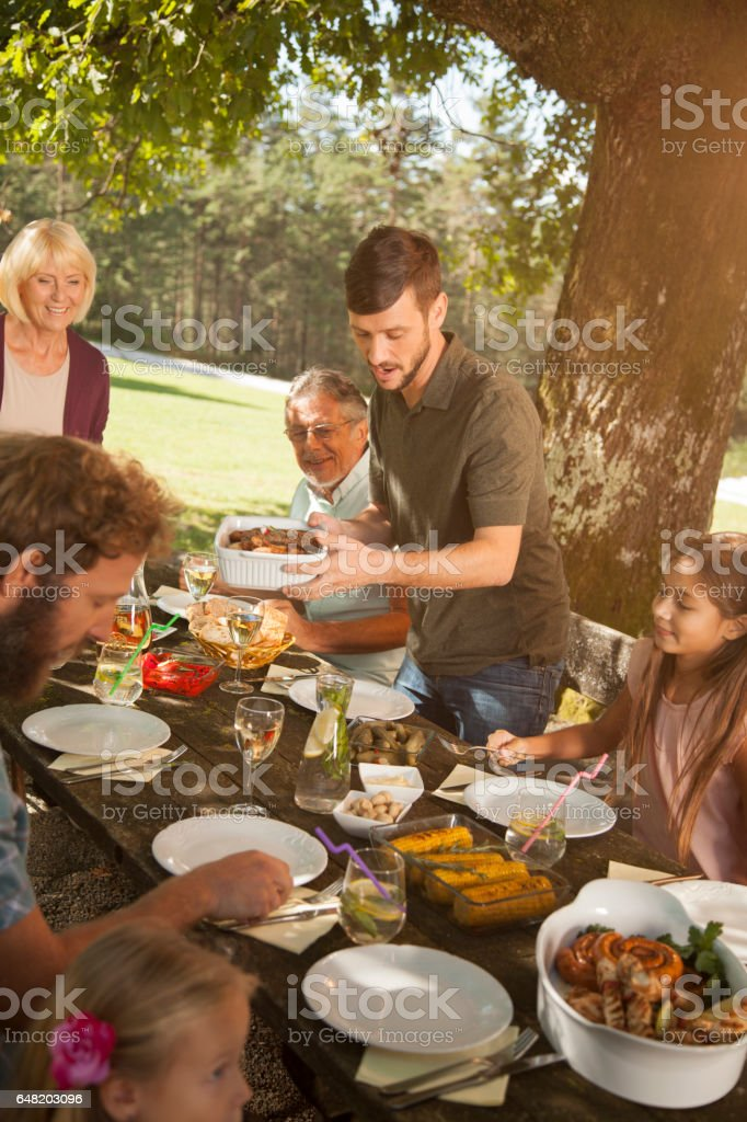 Family at a picnic stock photo