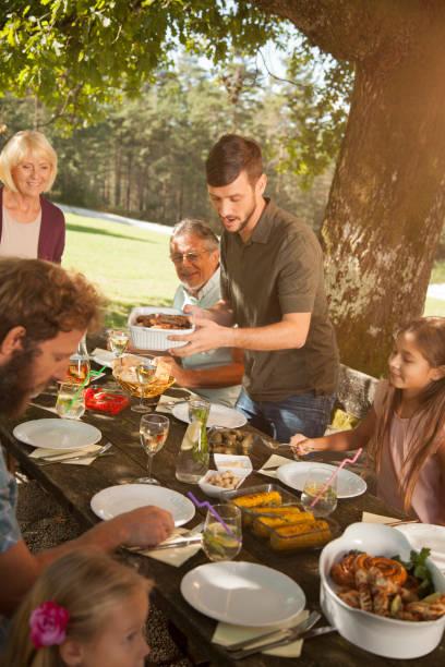 Family at a picnic stock photo