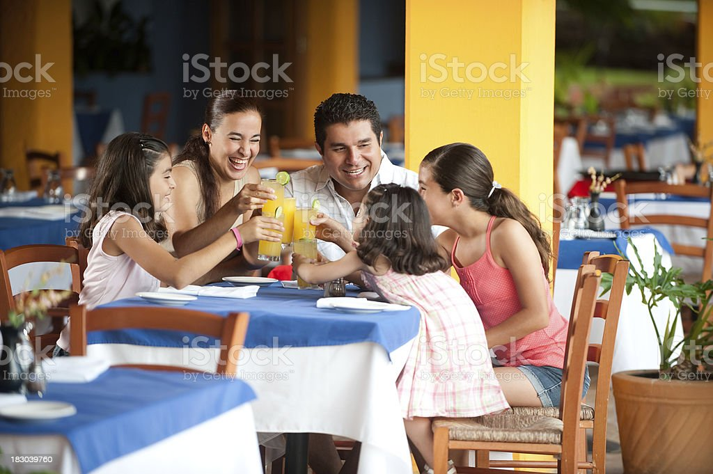 Family at a restuarant royalty-free stock photo