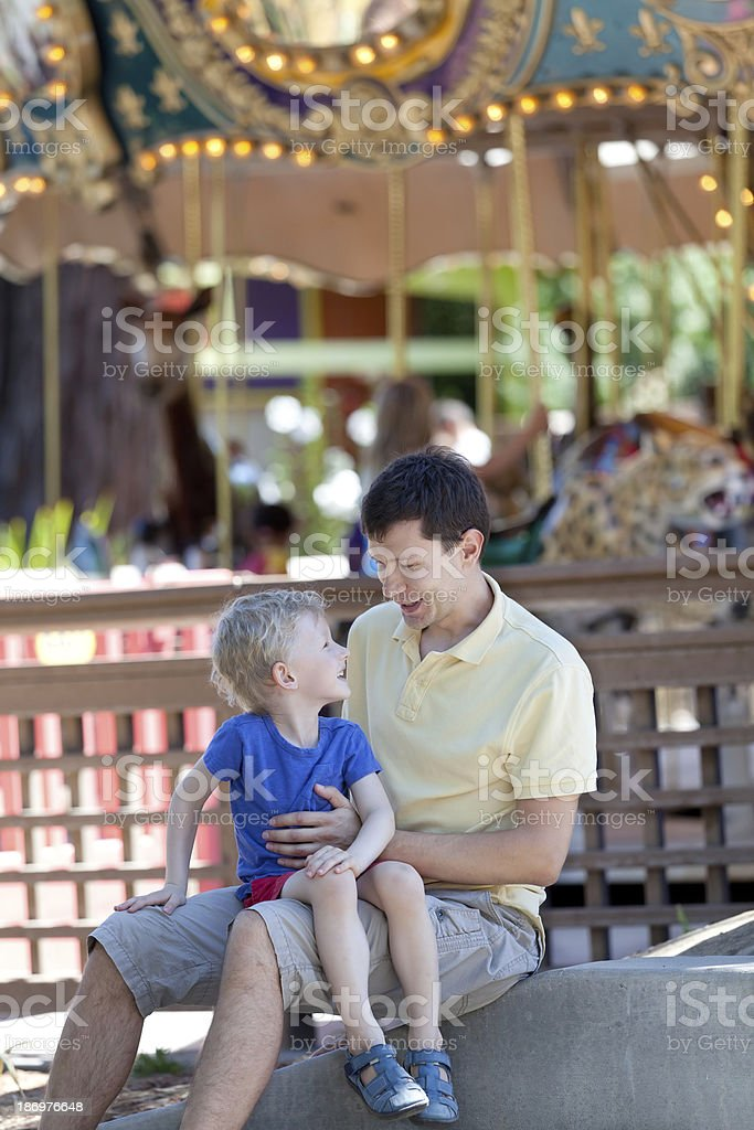 family at amusement park royalty-free stock photo