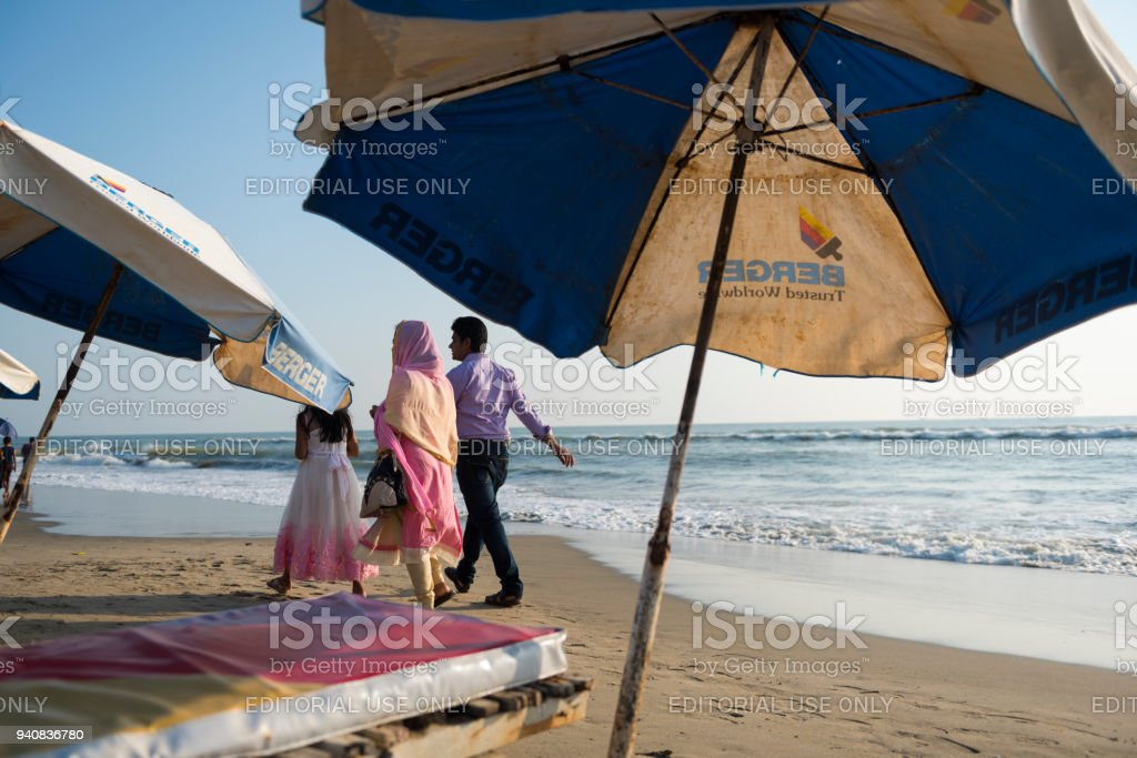 Family at beach in Cox's Bazar, Bangladesh stock photo