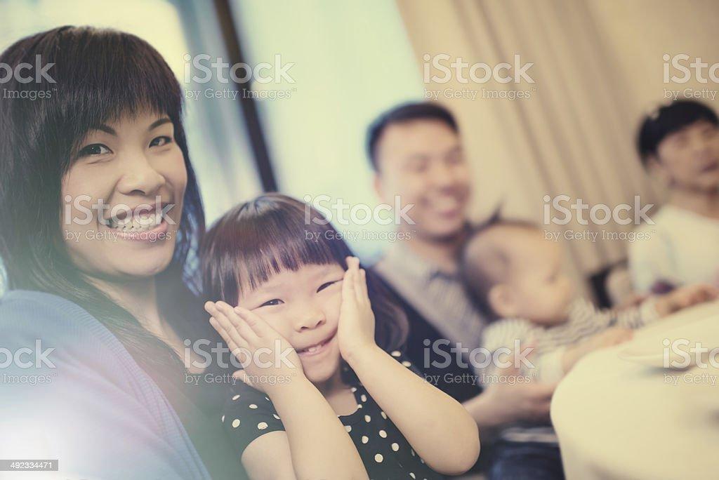 Family at dinner stock photo