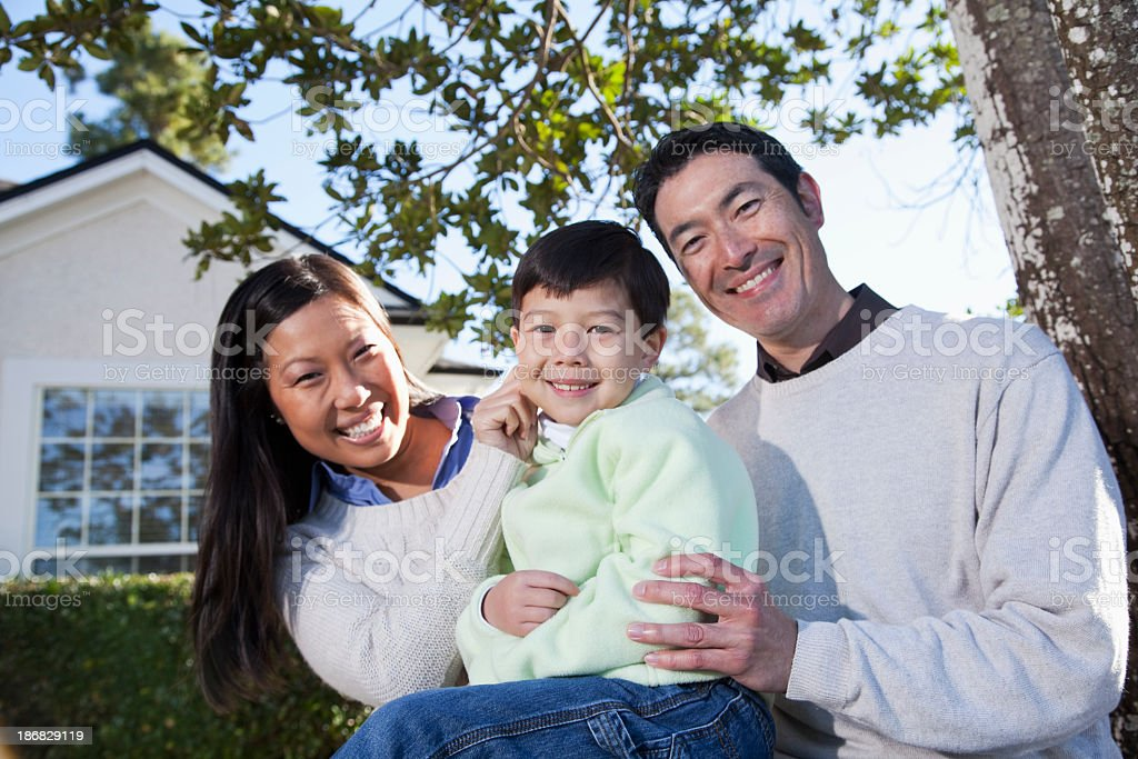 Family at home in yard royalty-free stock photo
