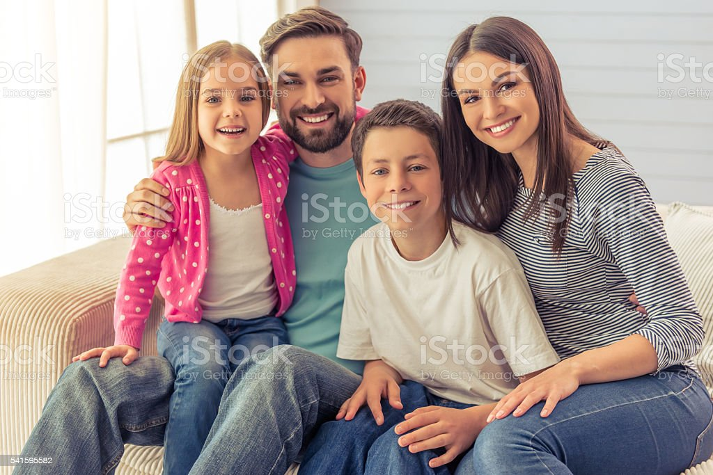 Family at home stock photo