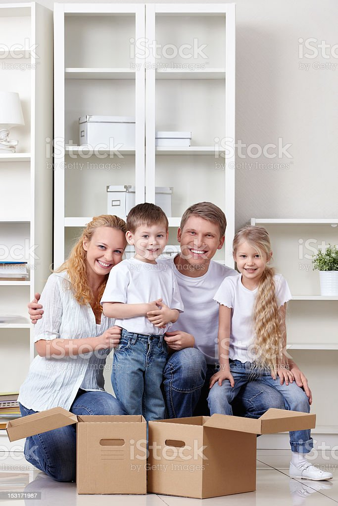 Family at moving royalty-free stock photo