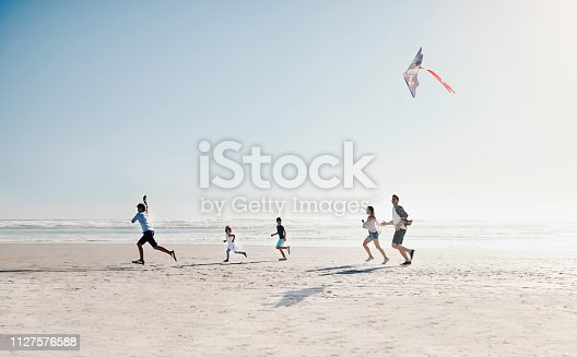 Shot of a happy young family of five flying a kite together on the beach