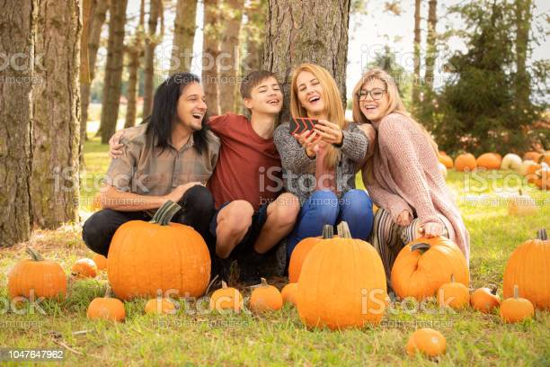 Family At Pumpkin Farm Laughing At Selfie On Cell Phone Stock Photo - Download Image Now