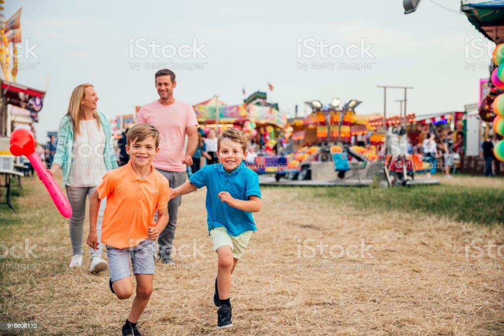 Family at the Fairground stock photo