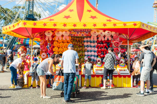 Family at the funfair in Sydney's Royal Easter Show stock photo