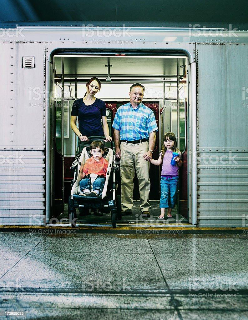 family at the subway royalty-free stock photo