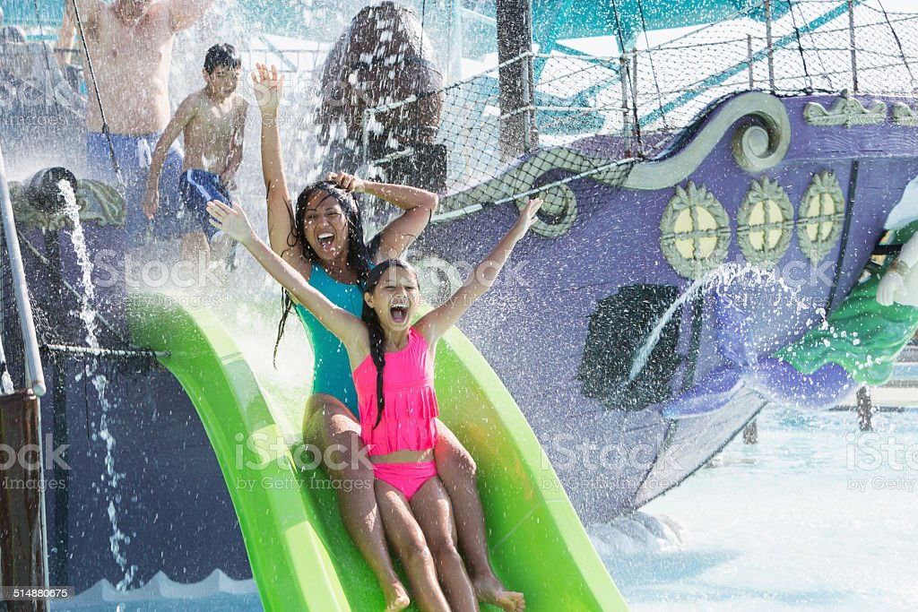 Family at water park stock photo
