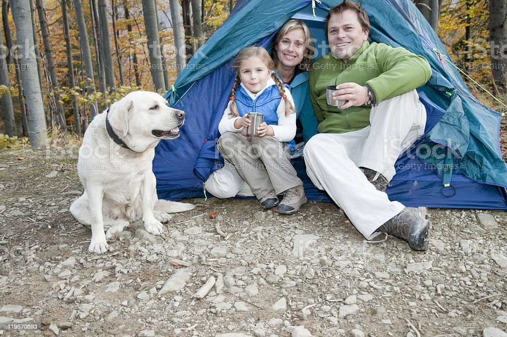 Family autumn camping with dog royalty-free stock photo